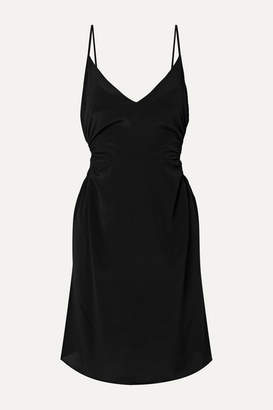 Rokh Cutout Crepe De Chine Mini Dress - Black
