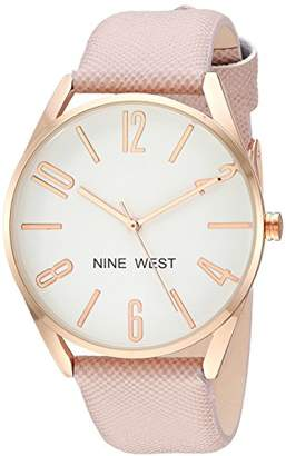 Nine West Women's NW/2182RGPK Rose Gold-Tone and Pink Strap Watch