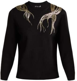 Alexander Mcqueen - Bead Embellished Wool Sweater - Womens - Black Silver