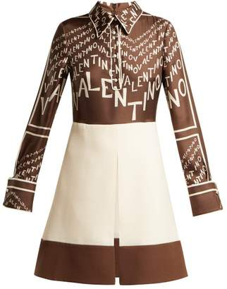 Valentino Logo Print Silk And Wool Mini Dress - Womens - Brown Multi