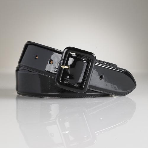 Ralph Lauren Patent Trench Buckle Belt