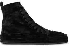 Ann Demeulemeester Velvet High-Top Sneakers