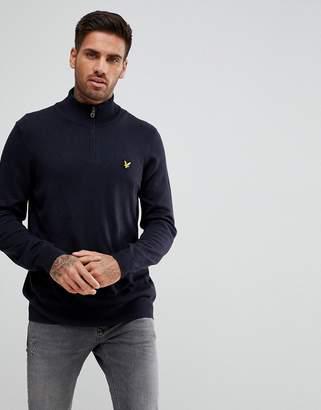 Lyle & Scott 1/4 Zip Sweater In Dark Navy