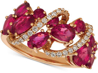 LeVian Le Vian Passion Ruby (2-5/8 ct. t.w.) & Diamond (1/5 ct. t.w.) Ring in 14k Rose Gold