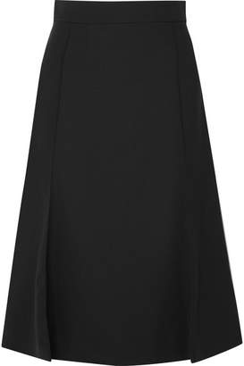 Chloé Pleated Stretch-wool Midi Skirt - Black