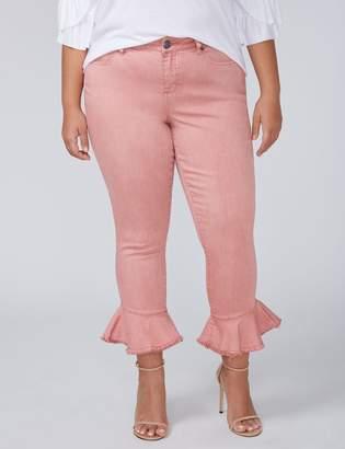 Skinny Crop Jean with Ruffle Hem - Color