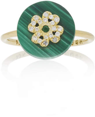 Coexist Noush Jewelry Clover On Malachite Ring