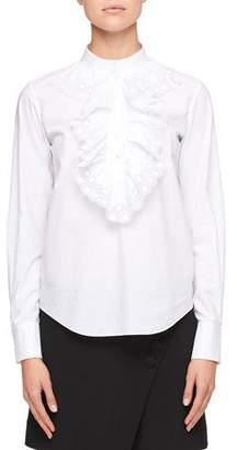 Chloé Mock-Neck Long-Sleeve Poplin Shirt with Ruffled Trim