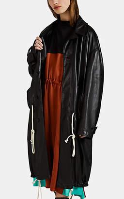 PLAN C Women's Leather Trench Coat - Black