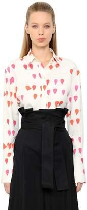Alexander McQueen Petals Printed Silk Poplin Shirt