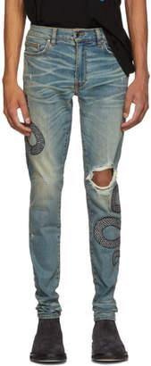 Amiri Indigo Glitter Snake Broken Jeans