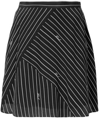 Karl Lagerfeld pinstriped logo skirt