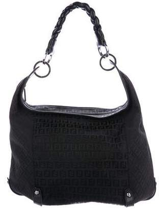 Fendi Leather-Trimmed Zucca Hobo