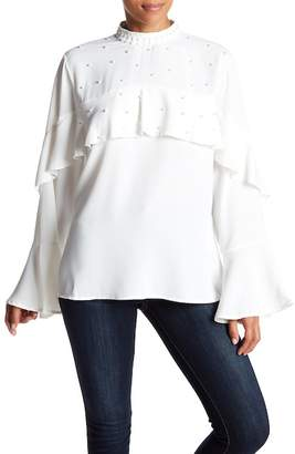 Couture Simply Embellished Ruffle Blouse