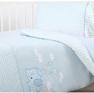 Dreamaker Cotton Sateen Cot Quilt Cover Set - Blue Elephant Design