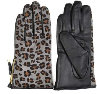 Journee Collection Women's Leopard-Print Leather Gloves