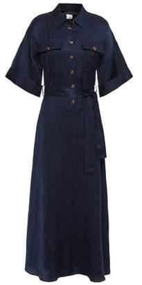 Iris & Ink Ingrid Belted Twill Maxi Shirt Dress