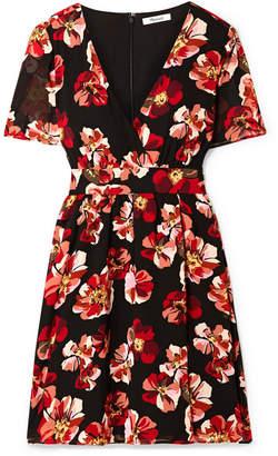 Madewell Floral-print Chiffon Mini Dress - Black