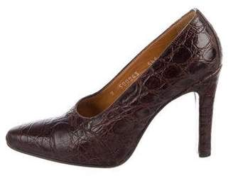 Ralph Lauren Alligator Round-Toe Pumps