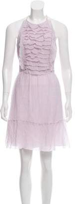 L'Agence Ruffle-Accented Halter Dress w/ Tags