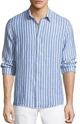 Michael Kors Men's Slim Fit Striped Linen Button-Down Shirt