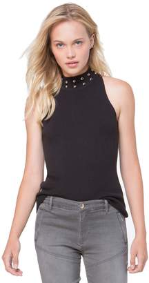 Juicy Couture Dome Stud Embellished Mock Neck Sweater