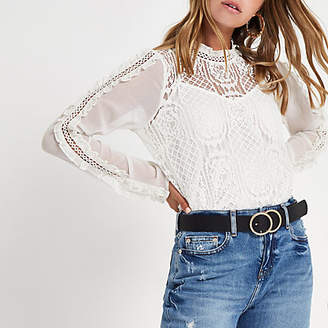 River Island Petite cream lace frill sleeve top