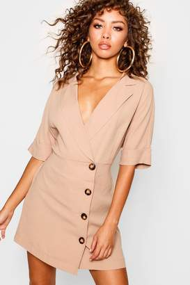 boohoo Wrap Front Horn Button Shirt Dress
