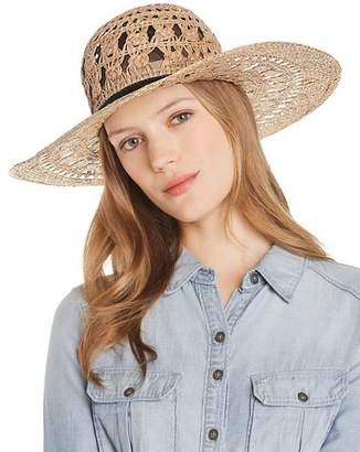 Aqua Macramé Straw Sun Hat - 100% Exclusive