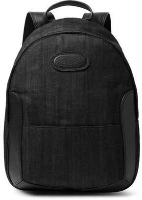 Maison Margiela Full-Grain Leather-Trimmed Denim Backpack