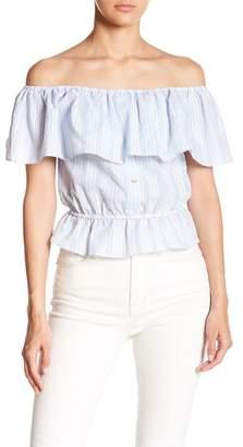 Lumiere Off-the-Shoulder Stripe Blouse