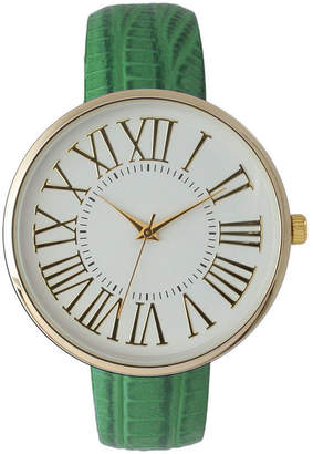 OLIVIA PRATT Olivia Pratt Womens Gold-Tone White Dial Lime Croc-Embossed Leather Strap Watch 14328