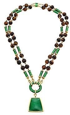 David Webb Women's Colors 18K Yellow Gold, Tiger's Eye & Enamel Long Beaded Pendant Necklace