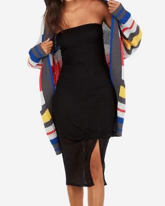 Express Twist Front Ribbed Midi Dress