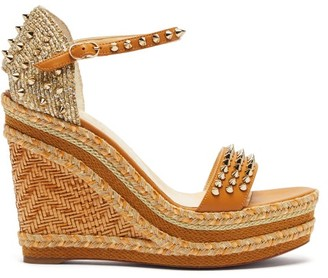 Christian Louboutin Madmonica 120 Studded Wedge Sandals - Womens - Nude Gold