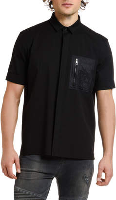Neil Barrett Men's Nylon-Pocket Short-Sleeve Sport Shirt