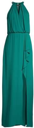 BCBGMAXAZRIA Halter Keyhole Side Slit Gown