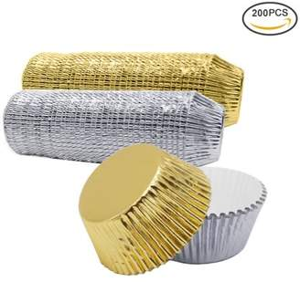 Uarter 200-Pack Paper Cupcake Cup Aluminium Foil Muffin Baking Cups Liners Cupcakes Case, Silver and Golden