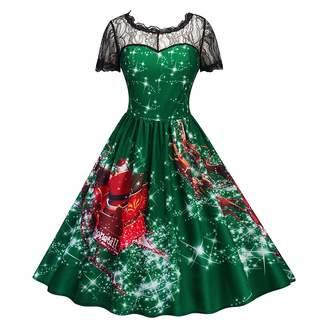 FTVOGUE Women Christmas Snowmen Print Lace Patchwork High Waist Midi Dress(L)