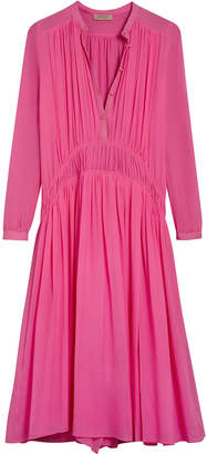 Burberry georgette gathered dress