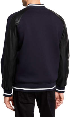 Karl Lagerfeld Paris Men's Bomber Jacket w/ Faux-Leather Sleeves