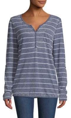 Striped Roll-Sleeve Henley