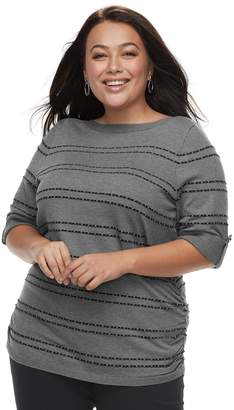 Apt. 9 Plus Size Textured Ruched Boatneck Sweater