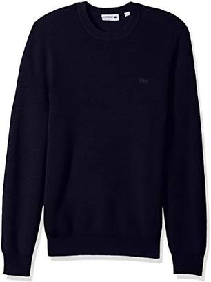 Lacoste Men's Wool Half Cardigan Rib Sweater with Fancy Stitch