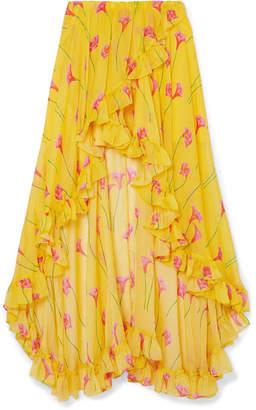 Caroline Constas Adelle Asymmetric Ruffled Floral-print Silk-chiffon Skirt - Yellow