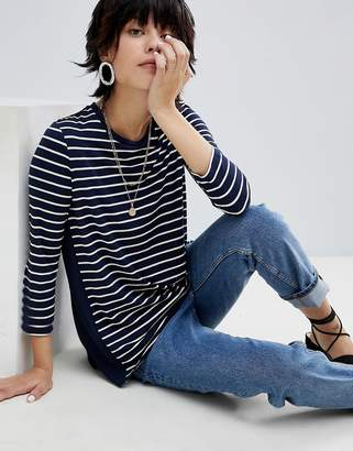 Warehouse Stripe Front Woven Back Long Sleeve T-Shirt