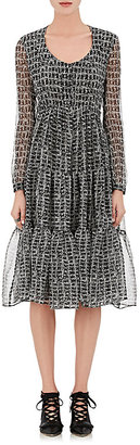 Derek Lam Women's Crocodile-Print Silk Georgette Tiered Dress $1,495 thestylecure.com