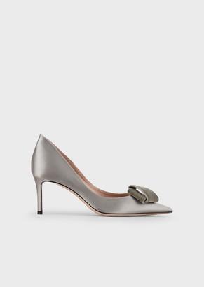 Giorgio Armani Satin Court Shoes With Velvet Bow