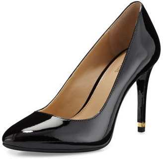 MICHAEL Michael Kors Ashby Patent Almond-Toe Pump, Black $110 thestylecure.com