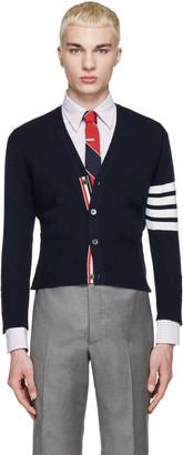 Thom Browne Navy Cashmere Striped Armband Cardigan $1,790 thestylecure.com